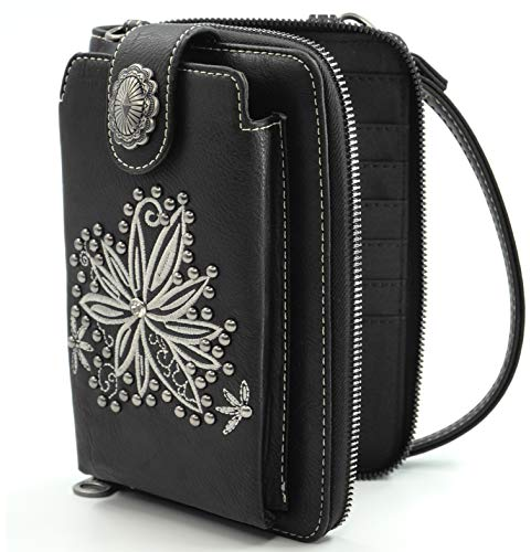 Montana West Crossbody Cell Phone Purse For Women Western Style Phone Bags Travel Size With Strap MWUSA-PHD-124BK