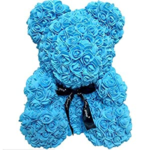 Silk Flower Arrangements 15 Inch Rose Teddy Bear Flower Artificial Handmade Forever Rose Bear for Valentines Day Anniversary Bridal Showers Weddings Mothers Day with Clear Box