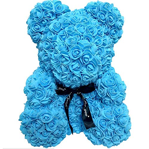 WANGSCANIS Oso de Peluche de Rosas Regalo para Novia Esposa Amor con Rosas Artificiales Oso Floral para Día de San Valentín Aniversario Cumpleaños (B Azul, 37cm)