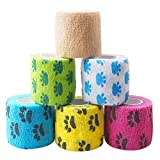 kuou 6 Rolls Pet Vet Wrap, Self-Adhesive Pet Elastic Bandage Injury Wrap Tape for Wrist, Ankle Sprains & Swelling