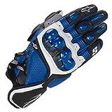 S1 Guantes de Cuero para Moto Anti-caída Antideslizante Respirable Guantes Llenos de Dedos para Equitación al Aire Libre, Equipamiento Profesional de Carreras,Blue,M