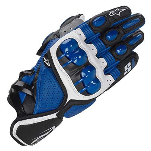 S1 Guantes de Cuero para Moto Anti-caída Antideslizante Respirable Guantes Llenos de Dedos para Equitación al Aire Libre, Equipamiento Profesional de Carreras,Blue,L