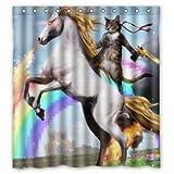 BBFhome Personalisierte Lustige Einhorn & Katze Duschvorhang, inklusive Dusche Ringe 100prozent Polyester Wasserdicht 168x180 cm