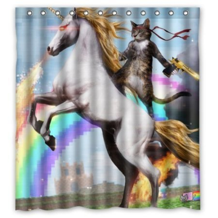 BBFhome Personalisierte Lustige Einhorn & Katze Duschvorhang, inklusive Dusche Ringe 100prozent Polyester Wasserdicht 180 x 180 cm