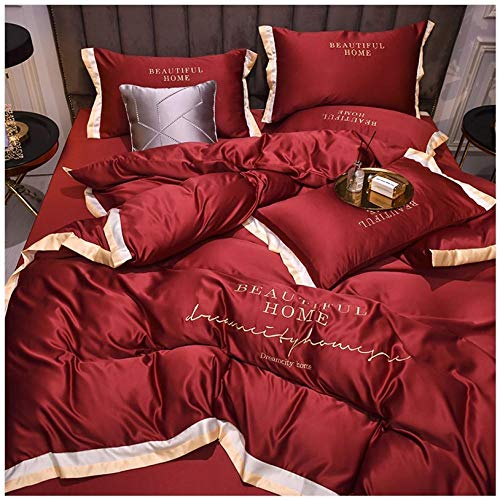 Bedding-LZ -Ropa de Cama 60s Lavado Chamilage Cuarto de Cuatro Piezas de Color sólido Hojas de Bordado de la Chaqueta de la Chaqueta Funda de Almohada-mi_1,8 m de Cama (4 Piezas)