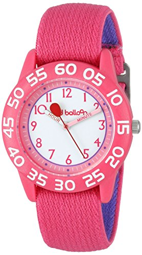Red Balloon Kids' W001895 'Time Teacher' Plastic Watch with Adjustable Pink Nylon Strap