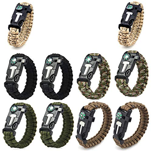 AOOTOOSPORT Survival Paracord Bracelets, 10 Pack Kit Outdoor Survival Bracelet Camping Fishing Hiking Gear with Compass, Fire Starter, Whistle and Emergency Knife