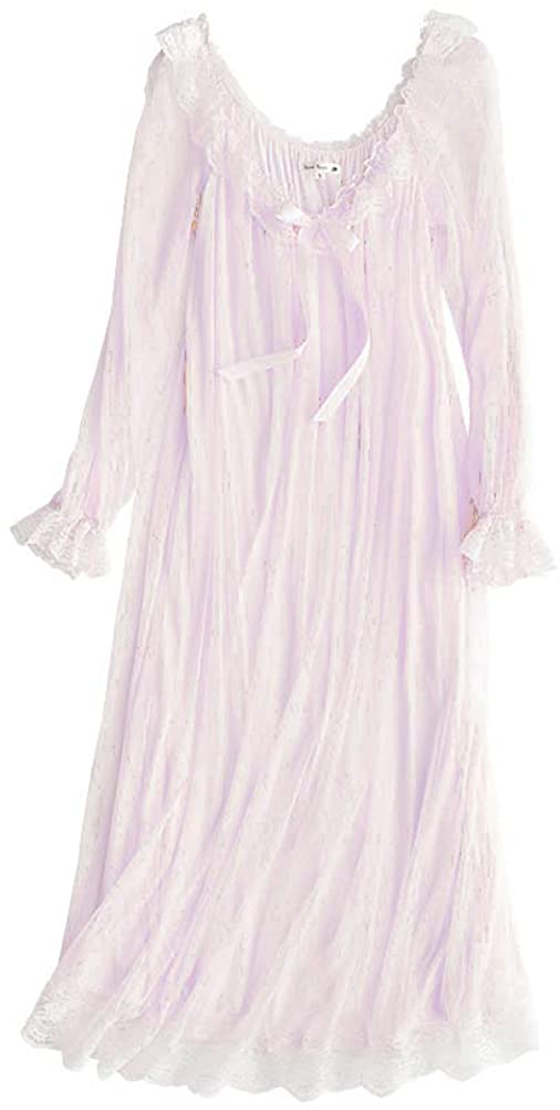 Women's Quantity limited Victorian Nightgown Today's only Long Sheer Vintage Lace Nightdress L