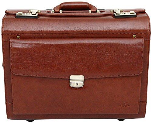 S Babila - Pilotenkoffer mit Rollen - Business-Trolley aus Vollleder - Handgepäcksgröße - Cognac