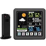 VANLAMP Estación Meteorológica con Pantalla Táctil y Sensor Inalámbrico para Exteriores, con Bloqueo Pronóstico del Tiempo Reloj Despertador Juguetes para Bebés Monitor Humedad Temperatura Interior