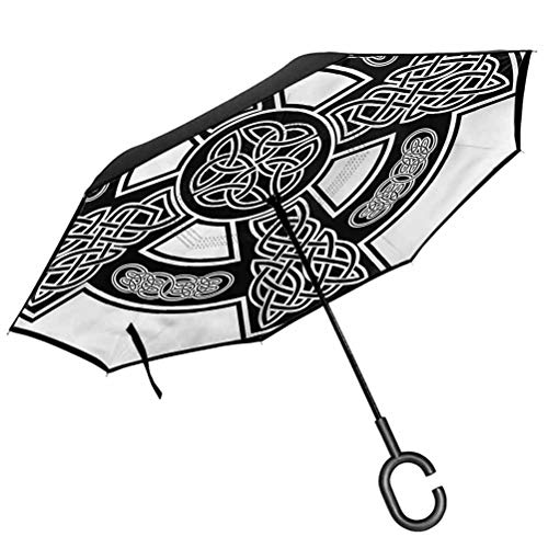 Celtic Umbrella Windproof Classic Form Linked Lines Anti-UV Rainproof Umbrellas Sun Protection
