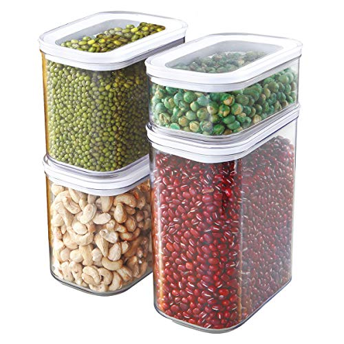 Glad Food Storage Containers Airtight with Lids | Stackable Canisters for Cereal, Pasta, Baking Supplies | Kitchen Pantry Organization | Assorted Sizes, Acrylic, Clear