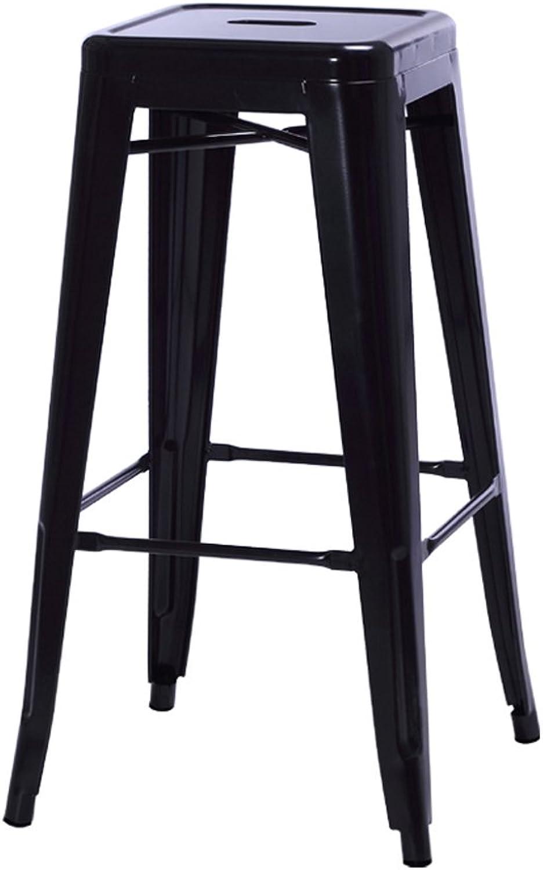 QARYYQ High Stool Bar Iron Bench Creative Home Round Chair 42x76cm Bar Stool (color   Black)