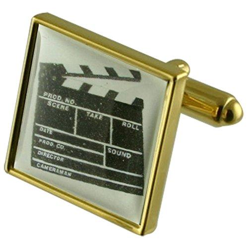 Select Gifts Filmregisseur Clapper Board Goldene Manschettenknöpfe personalisiert graviert box