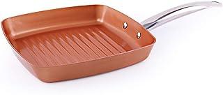 Sartén De Cobre Freír Parrilla cuadrada antiadherente Sartén Plancha Con Mango De Acero Inoxidable Cocina de inducción segura, 24cm (9.44 pulgadas),copper