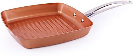 Sartén De Cobre Freír Parrilla cuadrada antiadherente Sartén Plancha Con Mango De Acero Inoxidable Cocina de