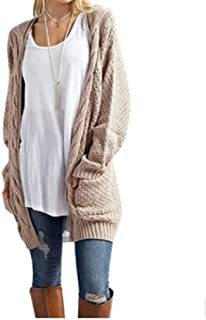 Howely Women Knit Cardigan Solid Color with Pocket Sweater Outerwear