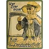 Nostalgic Art Retro Blechschild Wer Bier trinkt hilft der