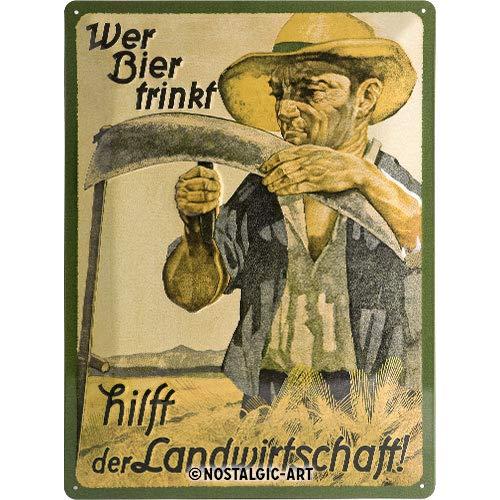 Nostalgic Art Retro Blechschild Wer Bier trinkt hilft der Landwirtschaft-Geschenk-Idee als Bar-Zubehör, aus Metall, Vintage-Design, 30 x 40 cm