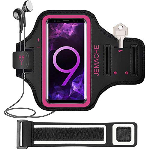 Galaxy S20 S10 S9 S8 Armband, JEMACHE Gym Laufen Joggen Übung Workout Armbänder für Samsung Galaxy S20/S10/S9/S8/S7 Edge mit Schlüssel Halter (Rosig)