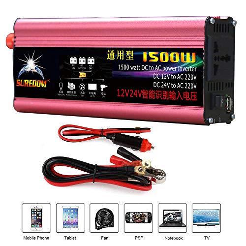 HPDOW 1500W(Spitze 3000W) Reiner Sinus Spannungswandler Wechselrichter 12V/24V auf 230V Konverter Pure Sine Power Inverter mit USB-Ladeanschluss und Direktanschluss an Autobatterie,12V