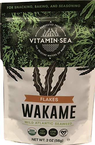VITAMINSEA Organic Raw Wakame Flakes - 2 OZ - Atlantic Seaweed Vegan Certified (WF2)