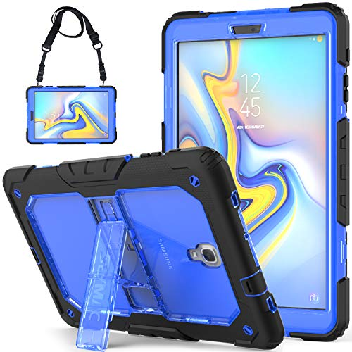 SEYMCY Galaxy Tab A 10.5 Case SM-T590 Case SM-T595 Case Full Body Rugged Shock Drop Protection Silicone Bumper Case with Stand/Strap Samsung Galaxy Tab A 10.5 2018 Tablet [Black/Blue]