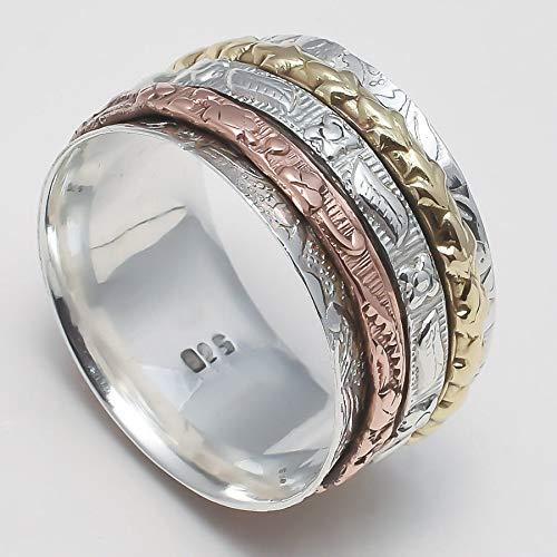 Anillos de plata de banda ancha para mujer,Spinner Ring for Womens, Western Ring for Mens, Meditation Ring Unisex, Spinning Ring, Silver Ring, Meditation Ring, Anxiety Ring
