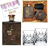 Geschenkset Skin Gin inkl. 2 geschliffenen Gläsern Der beste Gin aus Hamburg Luxusgeschenk für Männer SkinGin Der Luxus-Gin mit Tumblern
