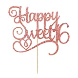 Rose Gold Glitter Happy Sweet 16 Cake Topper, Birthday Party Decorations Supplies