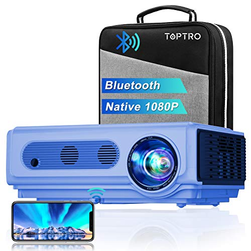 Proyector, TOPTRO 7000 Lúmenes Proyector Full HD 1080P Nativo 1920x1080 Soporta 4K,Proyectores Cine en Casa LED 100,000 Horas, Corrección Trapezoidal 4D, Zoom X/Y, para Cine en Casa