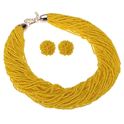 Fashion Multilayer Seed Bead Chain Choker Collar Necklace Earrings Set Cluster Strand Handmade Bib Statement Necklace (Jewelry Set Yellow)