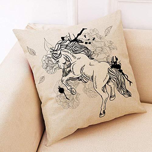 LPLH Arte Creativo Caballo algodón Lino Coche Funda de Almohada sofá cojín Almohada-D_45 * 45 poliéster Lino