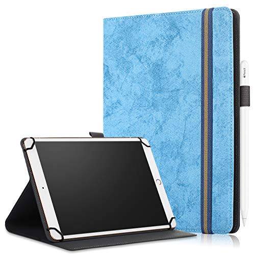 SINSO Universal Case for 9-11 Inch Tablet, Stand Folio Case Cover for All 9-11' Tablets (Samsung Tab 9.6/10.1/10.5, iPad 9.7-11', Lenovo Dragon Touch 10', Huawei 10.1-10.8, Fire HD 10), Sky Blue
