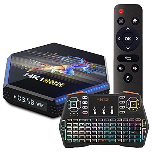 HK1 BOX R2 Android 11.0 TV Box, RK3566 Quad-Core 64Bit Cortex-A55 CPU Mali-G52 GPU Soporte 2.4G / 5.8G Dual Wifi BT 4.0 3D 8K Streaming Media Player , Con Teclado Retroiluminado Inalámbrico,4gb+64gb