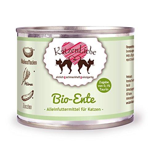KatzenLiebe Premiumfutter Nassfutter Bio-Ente mit Bio-Zucchini (Ente, 12 x 200g)