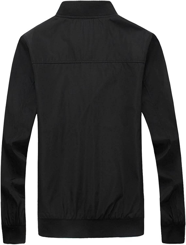 Men Solid Stand-up Collar Full Zipper Jacket Casual Slim Fit Baseball Uniforms Warm Windproof Long-Sleeved Coats
