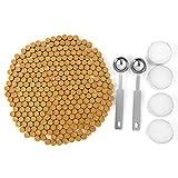 Mogokoyo - Set di 300 perline di ceralacca ottagonali, kit con 2 cucchiaini di fusione e 4 candele, per sigillare timbri e lettere Oro