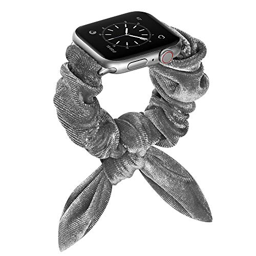 OXWALLEN Straps Compatible with Scrunchie Apple Watch Bands 42mm 44mm, Cute Adjustable Scrunchy Bracelet fit Girls Women for iWatch Series 3/4/5/6/SE Gray - 42MM/44MM-S/L