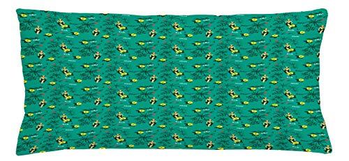 ABAKUHAUS Hawaiano Funda para Almohada, Muchachas de Hula Palms Veleros, Colores Perdurables Tela Lavable, 90 x 40 cm, Oscura Espuma de mar y Multicolor