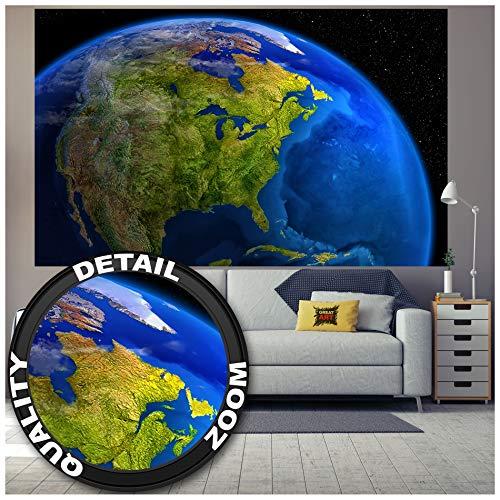 GREAT ART® Fototapete – Amerika am Tag – Wandbild Dekoration Space Weltall Kosmos Weltkugel World Map Day USA Wandgestaltung Welt Globus Foto-Tapete Wandtapete Fotoposter Wanddeko (210 x 140 cm)