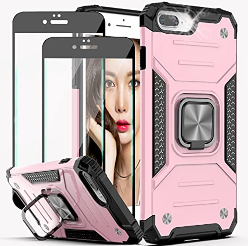 YmhxcY Compatible for iPhone 8 Plus/7 Plus/iPhone 6s Plus Case with Tempered Glass Screen Protector[2 Pack],Armor Grade with Rotating Holder Kickstand Non-Slip Phone Case for iPhone 6 Plus-Rose Gold