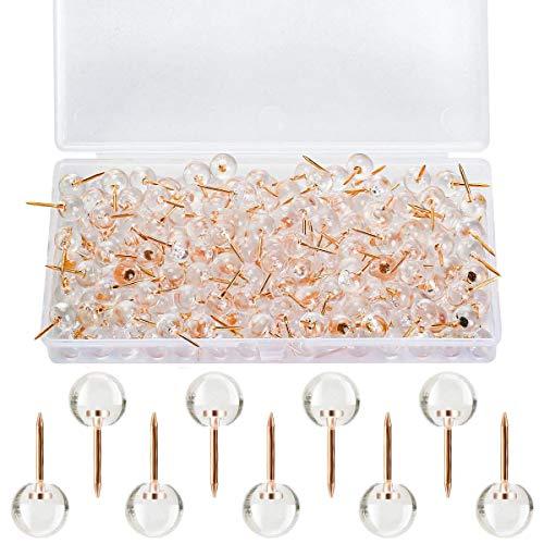 100 piezas de empuje de cabeza de oro rosa ronda chinchetas de plástico transparente de papelería mapa tachuelas para tablón de anuncios de corcho, marca de mapa