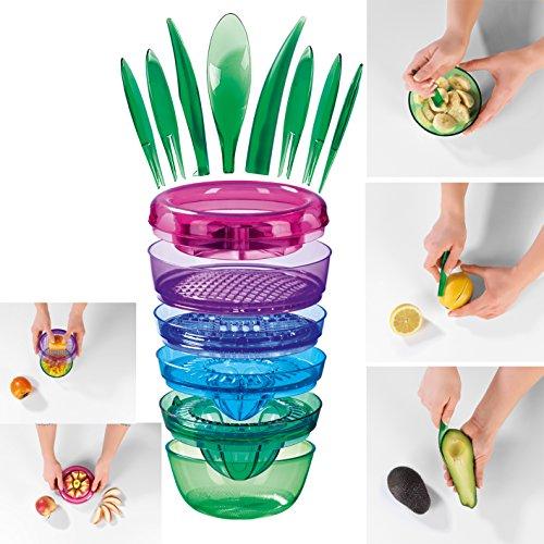 Gourmetmaxx Utensili da cucina per la lavorazione della frutta, professionali, 14pezzi, multicolore