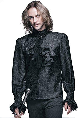 Devil Fashihon Gothic Herren Victorian Retro Rüsche Hemd Steampunk Pastorenhemd Barock Männer Tops Stehkragen Männerhemd (4XL, Schwarz)