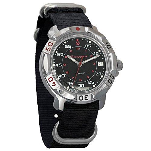 Vostok Komandirskie - Reloj de pulsera para hombre, esfera clásica de color negro, 24 horas #811172