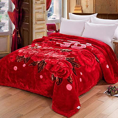 Eastery Worth Having Red Big Red Flower Patroon Verdikking Raschel N eenvoudige stijl Winter Nap Tweepersoonsbed bekledingen (Maat 175 * 215 cm)