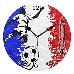 Akalidebaih Football France Flag Eiffel Tower Wall Clock Silent Non-Ticking Round Clock Art Painting Home Office School Decor-9 inch,no Frame,Wall Mount and Table top