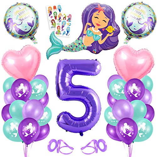 5er Cumpleaños Globos,Globos 5 Años Sirena,5 año Niña Cumpleaños,Sirena Numero 5 Globos,Sirena Niña 5 Año,Morado Globo Número 5,Sirena Globos 5 año Cumpleãnos Niña Fiesta Party Decoración