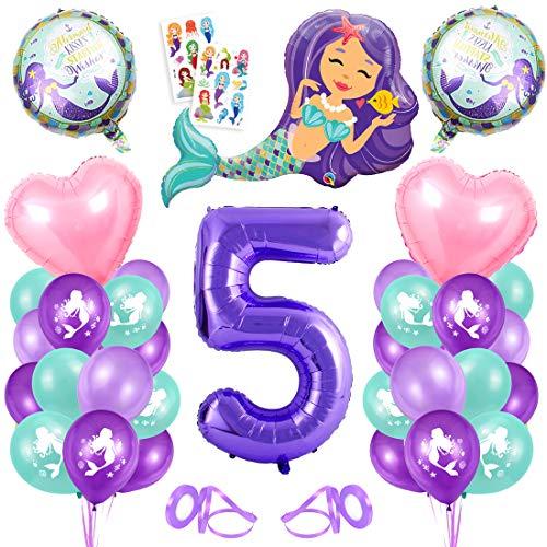 Sirena Decoración de Cumpleaños 5,Numero 5 Morado Gigantes Aluminio Globos Decoracion,Globos 5 año Cumpleãnos Sirena Niña Látex Globos Fiesta Party Decoración
